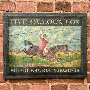 """Tavern Sign """"Five O'Clock Fox"""" Hunt Horse - Antique Look Repro of Original Art"""