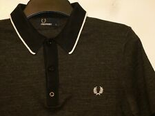 Fred Perry yarn knit tipped polo shirt knitted top K7207 S small F266