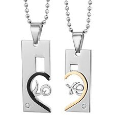 Partner Necklace Love Heart Stainless Steel Trailer +2 Chains Rhinestone Black