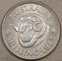Australia 1943(m) Shilling Lightly Circulated with Luster