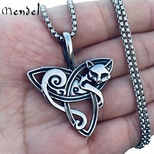 MENDEL Womens Celtic Triquetra Trinity Knot Kitty Cat Pendant Necklace Chain Set
