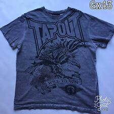 "Mens Tapout ""Tapout Will to Win"" Grey Size M T Shirt P-P 22"" Length 27"""