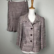 Ann Taylor Purple Tweed Skirt Suit Womens sz 10P Jacket sz 6 Skirt Linen Blend