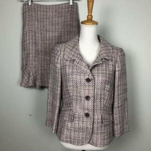 Ann Taylor Purple Tweed Skirt Suit Womens sz 10P Jacket sz 6 Skirt Linen Blend