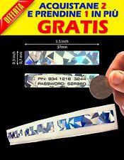 100 ETICHETTE GRATTA E VINCI ETICHETTE ADESIVE OLOGRAMMI SCARTCH OFF 7X37 MM