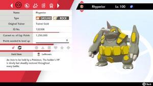Shiny Rhyperior 6IV Max EVs Competitive Pokemon Sword Shield Adamant Leftovers