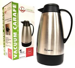 Coffee/Tea Carafe Vacuum Thermos Stainless Steel with Temperature Gauge,1 Liter