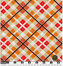 Quilting Fabric Red Orange Beige Squares Brown Stripes FQs 100% Cotton | OP3