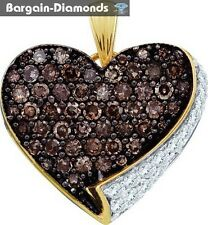 cocoa cognac brown diamond .85 carat heart 10K gold pendant love promise mom
