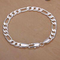 925 sterling silver 8mm Men women wedding Chain cute noble Bracelet jewelry