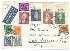 Germany Air Mail Cover - Schomberg, Calw to Texas - March 6 1953 - B330*