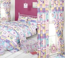 """CHILDRENS GIRLS BUTTON HEARTS SINGLE BED QUILT COVER SET & 66""""X72"""" DROP CURTAINS"""
