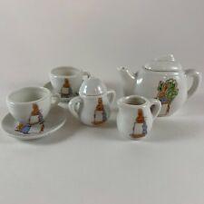 9 Piece Porcelain Tea Set Miniature 1974 Rabbit Family Easter Taiwan Vintage