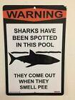 warning pool sign 12x18 metal sign garage mancave pool backyard
