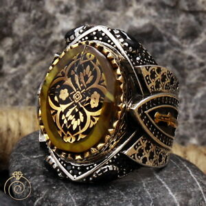 Mens Amber Natural Stone Statement Ring Vintage Silver Ottoman Heraldic Jewelry