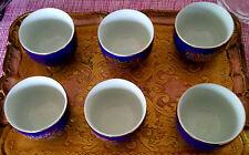 Teeservice 6 Tassen blau vintage Deko gold Porzellan Muster