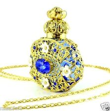 Perfume Bottle Gold Tone Filigree Vintage Dark Blue Faceted Crystal Necklace