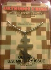 GI JEWELRY - U.S. Military ORTHODOX CROSS Necklace Pendant Non-reactive Steel