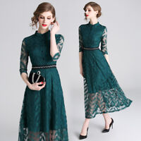 Occident Womens Lace Splicing Dress Slim Fit 3/4 Sleeve Ball Gown Party Dress Sz