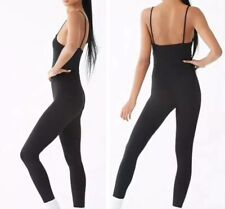 Basic All Black Unitard Jumpsuit Sleeveless Tank Top Catsuit One Piece S NEW