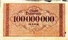 1923 Germany DUISBURG  100.000.000 Mark Banknote