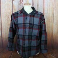 Pendleton Men's Large Wool Button Shirt Flannel USA Grey Red Plaid L/S Vintage