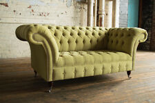 MODERN HANDMADE 2 SEATER LIME GREEN VELVET CHESTERFIELD SOFA COUCH CHAIR