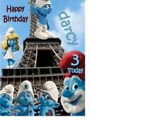 SMURFS Birthday Card personalised A5