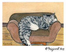 "Tabby Cat Feline Animal ACEO Print ""Cat nap"" By V Kenworthy"