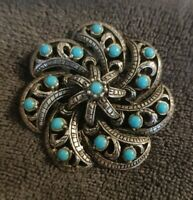 Vintage Silvertone floral Blue Stone Brooch Pin flower Catherine Wheel spin