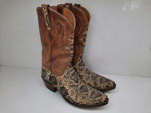 Vtg Lucchese Exotic Eastern Diamondback Rattlesnake Cowboy Boots L0908 Mens 10.5