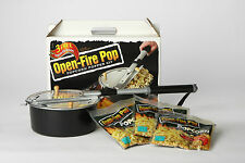 Whirley Open Camp Fire Popcorn Popper For Fire Pit With Popping Kit Included