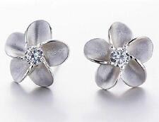 925 silver crystal flower earrings ear stud women fashion jewelry xmas gift