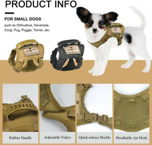 pet Harness Tactical Adjustable Cat Puppy Small Dog military Vest  Rubber Handle