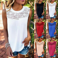 New Women Summer Sexy O-Neck Solid Lace Sleeveless Tops Vest Tank T-Shirt Blouse