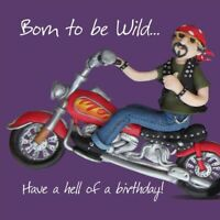Birthday Card - Male Funny Humour Motorbike Born to be Wild One Lump Or Two NEW