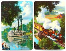 PAIR VINTAGE SWAP CARDS. STEAM TRAIN & PADDLESTEAMER BOAT. ARTIST PAUL DETLEFSEN