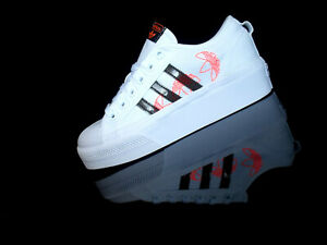 ADIDAS NIZZA PLATFORM W Damen Sneaker Plateau weiß/schwarz/coral Gr.39 1/3