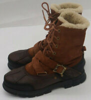 Polo Ralph Lauren Mens 9D Boots Tavin Rollover Shearling Brown Suede Leather