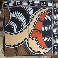 "Vintage Adriene Landau Large Scarf Square Abstract Tan Brown Orange 35"" x 35"""