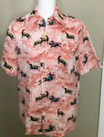 Vintage Tori Richard Honolulu Button Front Shirt Sz Medium Hawaiian Aloha Horses