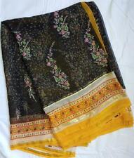 Black Yellow Sari Indian Saree Bollywood Fabric Panel Drape