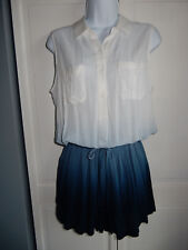 Boston Proper Shirt Romper White/Blue Ombre Button Front Blouson Pockets S $98