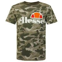 Ellesse Mens T Shirt Logo Crew Neck Camo Print Dark Green Prado Medium