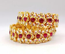 Real Kundan Indian Style Bracelet 22k Yellow Gold Red White Color Handmade India
