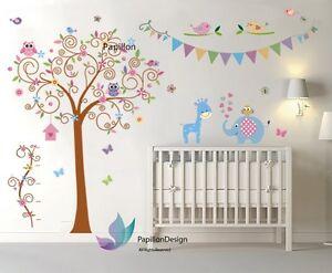 Swing Tree owl Flower Butterfly Elephant Giraffe Nursery Kid baby wall sticker