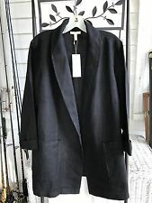 NWT $278 EILEEN FISHER HEAVY LINEN BLACK SHAWL STAND COLLAR BLAZER JACKET 1X
