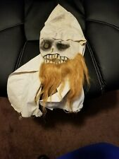 Vintage Odd Fellows Lodge Ritual Mask Real Hair Death Face Formed Fabric Spooky