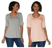 H By HALSTON  SUPER SOFT KNIT ELBOW SLEEVE CURVE HEM TOP TEE T - SHIRT NEW  $ 39