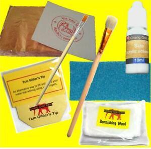 Copper Leaf Kit 100 Pure Sheets 10ml Adhesive Gilding Brushes Art Crafts Design